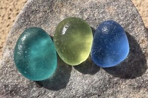 OVER THE RAINBOW TRIO OF FLAWLESS COLORFUL SEAGLASS STATEMENT PENDANT PIECES!