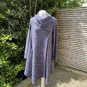 Phase Eight Navy Marl Wool Blend Bellona Waterfall Knit Coat Size 10 BNWOT