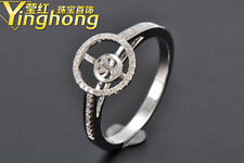 10.0mm Round Cut Solid 14kt White Gold Natural Diamond Pearl Semi Mount Ring