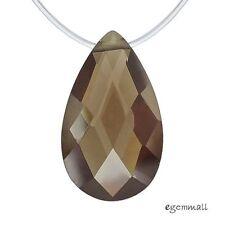 Cubic Zirconia Flat Drop Briolette Pendant Bead 12x20mm Smoky Brown #96128