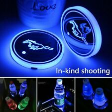 2Pcs Led Car Logo Cup Holder Pad 7 Colors Changing Lights Best Gift for Mustang