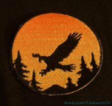 Embroidered Sunset Soaring Eagle Silhouette Ombre Circle Patch Iron On Sew USA