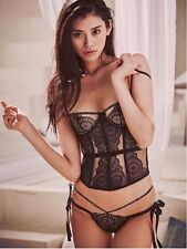 NEW SET 36C THONG/LG VICTORIA'S SECRET DESIGNER EYELET LACE EMBELLISHED CORSET