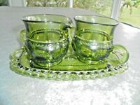 Vintage Indiana Glass Crown Green Cream & Sugar Bowl & Tray