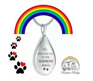 Rainbow Bridge Cremation Pendant Keepsake Memorial Jewellery Dog Cat Pet Ashes
