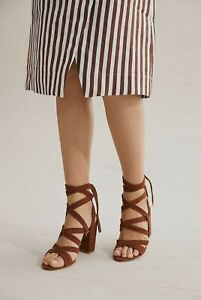 NEW Country Road Tan Suede Leather Penelope Heels Shoes Size 37 Cross Tie Strap