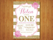 Pink and Gold Girl 1st Birthday Invitation. Floral Flower. Printable Digital.