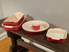 Lot of 5 Red LE CREUSET Enameled Stoneware, Loaf Pan, Baking Dish, Round, Square