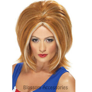W304 Spice Girls Ginger Power Womens Wig Blonde 90S Pop Star Fancy Dress Costume