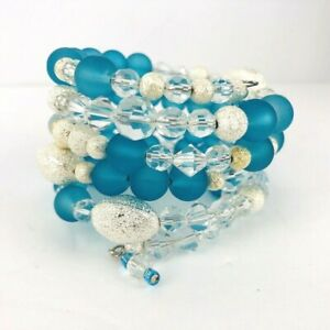 Blue Frosted Sea Glass Crystal Silver Tone Bead Stack Bracelet Wrap Handcrafted