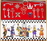 13pcs/Set Kingdom Hearts II KEY BLADE Necklace Pendant+Keyblade+Keychain Silver