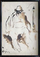 Sylvain VIGNY 1903-1970.Homme assis .Encre et lavis.SBG.C.1930.30x20.Cadre.