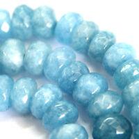 "5x8mm Faceted Natural Aquamarine Gemstones Loose Beads 15"" AAA"
