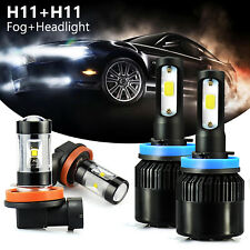 JDM ASTAR 4x H11+H11 Super Bright LED Headlight High Low Beam + Fog Lights Bulbs