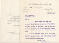 THE CARLTON HOTEL LIMITED, Charring Cross 1931 Offer Letter and Reply Ref 46081