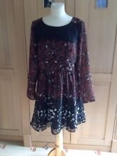 GREAT MARKS & SPENCER BROWN/BLACK SEMI FITTED DRESS UK SIZE 12 WORN GOOD CONDI
