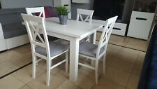 SET of white extending dining table and 4 wooden chairs with grey fabric Alla2