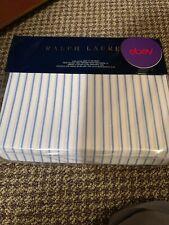 Ralph Lauren Meadow Lane Brennan Cotton Stripe King Fitted Sheet White/Blue $185