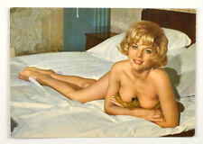 Vintage card nude girl on the bed pin-up Germany 1950s
