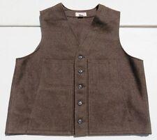 Mens CC FILSON Brown 100% Virgin Wool Mackinaw Rain Repellent Vest Made USA 50
