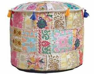 Round Ottoman Pouf Cover Vintage Cotton Fabric Embroidered Interior Footstool