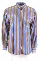 MAX MARA Womens Shirt UK 10 Small Brown Striped Cotton Loose Fit  BR08