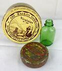 VTG/Antique 3pc Tin Canisters Green Medicine Glass Bottle Witch Hazel Cigar Leaf