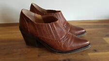 Women's Red or Dead Brown Leather Cowboy Short Boots Shoes UK 5 38
