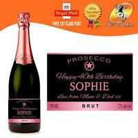 PERSONALISED PROSECCO BOTTLE LABEL BIRTHDAY WEDDING ALL OCCASIONS GIFT