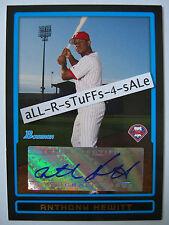 2009 Bowman Draft Prospects ANTHONY HEWITT Autograph AUTO Phillies RC #BPA-AH a