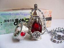 Puella Magi Madoka Magica Kyoko Sakura Red Soul Gem Cosplay Necklace and Ring