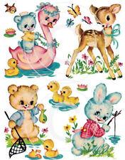 Vintage Image Nursery Animal Swan Deer, Bear Bunny Waterslide Decals AN583 LARGE