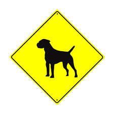 Border Terrier Symbol Crossing Animal Xing Metal Aluminum Novelty Dog Sign 12x12