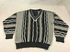 "Vintage Alan Stuart ""Coogi"" Look pullover V-neck sweater Sz L 100% Cotton"