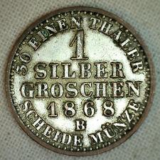 1868 B German States PRUSSIA Silber Groschen KM# 485 XF Silver World Coin #P