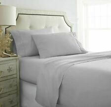 100% Cotton Comfort 1000 TC Bed Sheet Set Silver Solid