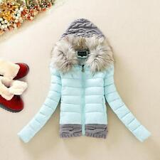 Hot Coat Winter Women Down Cotton Short Slim Fur Collar Hooded Coat Jacket Parka