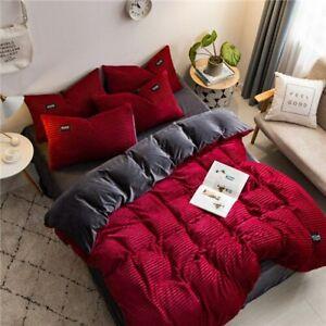 Winter Velvet Fleece Bedding 4pcs/Set Stripe Duvet Cover Sheet Pillowcase ABside