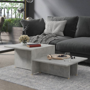 Modern Grey Coffee Table Wooden 2 Tier Side End Table Living Room Furniture