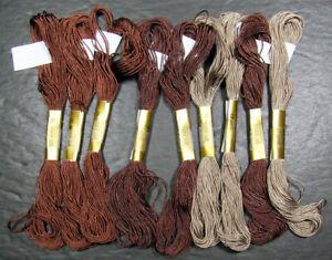 9x Needlepoint/Embroidery THREAD J L WALSH Silk 212 buttonhole silk-browns-KS81