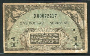 USA 1951, Replacement $1 Series 481, Military Payment Certificates, M26, VG