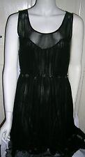 TOPSHOP en mousseline de soie Robe Noire Taille UK 12 EUR 40 US Taille 8