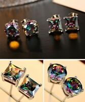 Mystic 925 Silver Princess Cut Rainbow Topaz Stud Earrings Wedding Party Jewelry