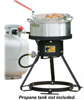 Fish Fryer Set 10 Qt Pot, Strainer Basket, Tripod Cooker Stand w/ Thermometer