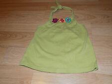 Girls Size 8 Gymboree Jungle Gem Solid Green Halter Top Floral Flower Neckline