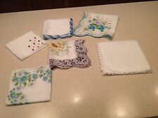 Lot of 6 Vintage Ladies Handkerchiefs Embroidered, Crochet, Scalloped,  Floral