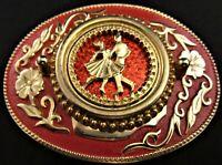 Vintage Square Dance Belt Buckle ~ Dancing Couple ~ Classy Red & Gold Design