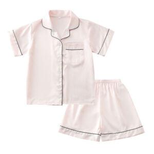 Girl Boys Silk Satin Pajamas Set Kids Suit Short Sleeve Nightwear Sleepwear New