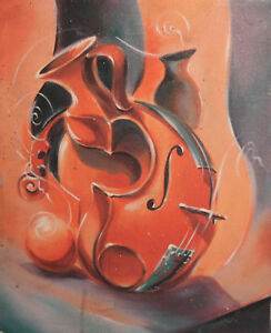 Surrealist still life with violin and jugs oil painting signed