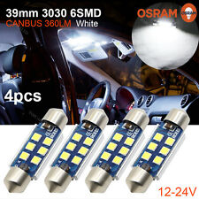 4x Canbus 39mm C5W 3030 6SMD LED No error Car Festoon License Plate Light 360LM